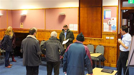 SCT vice chair Jonathan Wills addressing the meeting with his proposals for reform - Photos: Hans J Marter/ShetNews
