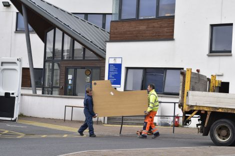 Desks being moved out of the North Ness offices on Tuesday lunchtime. Photo: Andrew Gibson/Millgaet Media