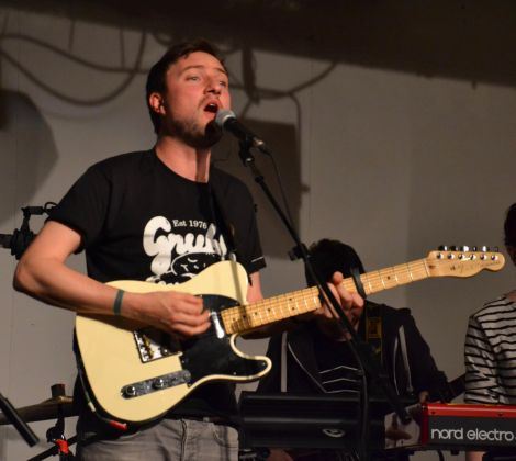 Admiral Fallow frontman Louis Abbott (pictured during a gig in Shetland last year) will provide percussion and backing vocals for the two gigs. Photo: Shetnews/Kelly Nicolson Riddell