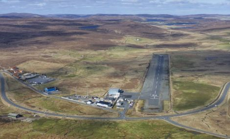 The aerial approach to Tingwall Airport from the south. Photo: Peter Scott