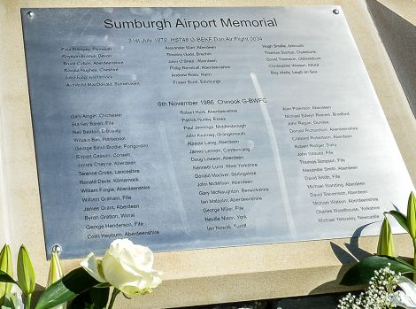 A plaque with the names of all those who have died in air disasters around Shetland was unveiled in May 2013.