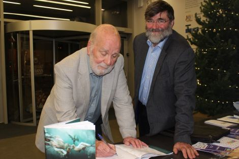 Bobby the Birdman editors Mike McDonnell (left) and Jonathan Wills during the book signing at Mareel on Sunday evening. Photo: Shetland News/Hans J Marter.