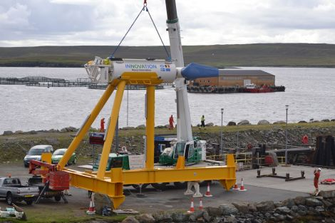 One of the Nova Innovation tidal turbines deployed in Bluemull Sound.