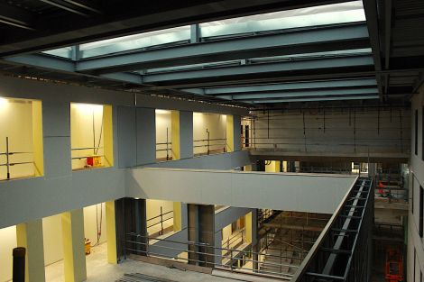 A view from third floor across the open space in the centre of the new school.
