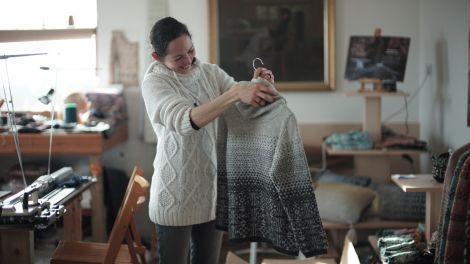 Knitwear designer Mati Ventrillon. Image courtesy of BBC Scotland.