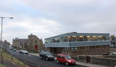The library's current base at St Ringans Church (left) is a stone's throw away from the old premises at Lower Hillhead. Photo: Hans J Marter/Shetland News