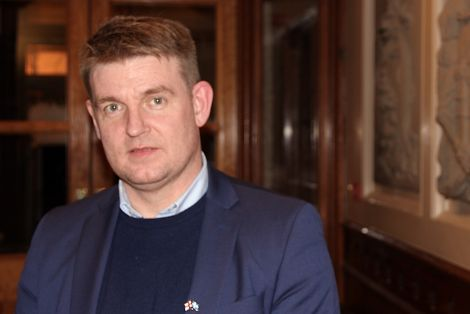 Faroese prime minister Aksel Johannesen in Lerwick town hall on Tuesday - Photo: Hans J Marter/Shetland News