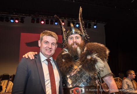 Faroese prime minister Aksel Johannesen exploring his Viking roots with guizer jarl Lyall Gair.