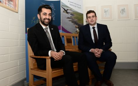 Scottish transport and islands minister Humza Yousaf with Andrew Farquhar of Sumburgh Airport - Photo: Malcolm Younger/Millgaet Media