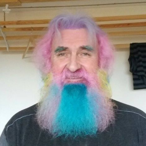 Granddad Peter Manson is sporting a multi-coloured array of facial fuzz ahead of shaving it all off for charity this Saturday.