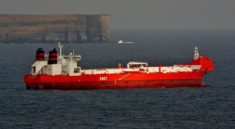 An oil tanker off Gulberwick - Photo: Ronnie Robertson