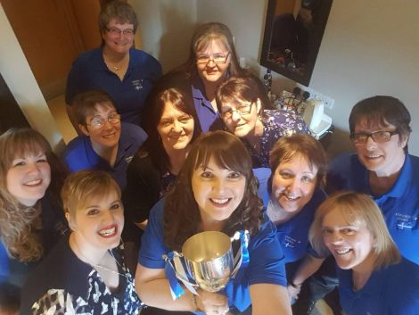 Selfie time for the victorious Lerwick Ladies team in Kirkwall on Thursday night.