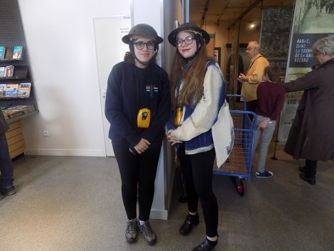 Holly and Carys ready to go into the Wellington Tunnels at Arras.