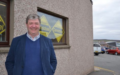 Alistair Carmichael outside his campaign office across from the Great Wall restaurant on Monday afternoon. Photo: Shetland News/Neil Riddell.