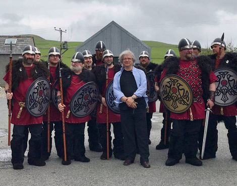 The Northmavine jarl's squad came along during Sunday's informal opening to welcome Geoff Jukes to the local community. Photo: Fiona Cope