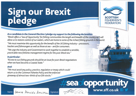 The SFF's Brexit pledge, as signed by Tory candidate James Halcro Johnston.