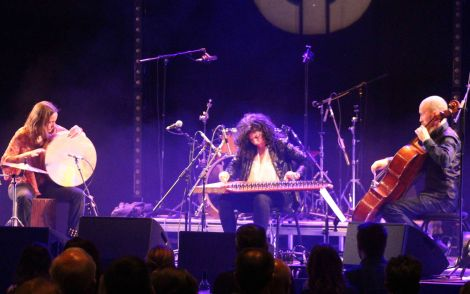 Maya Youssef and her trio strutting their stuff at the closing night's foy in Mareel on Sunday night. Photo: Chris Cope/Shetland News.