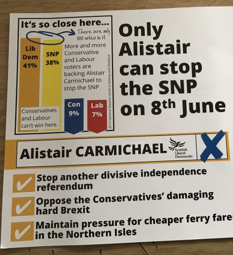 Liberal Democrat campaign literature is focusing strongly on the prospect of a second independence referendum.