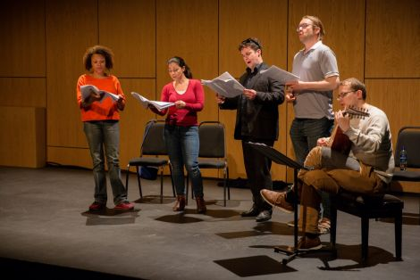 The Dunedin Consort madrigals during rehearsals prior to their Friday night concert at Mareel. Photo: Jenny Leask.