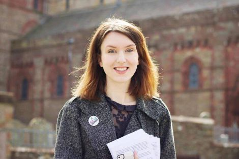 Miriam Brett on the campaign trail outside St Magnus Cathedral in Kirkwall.