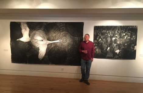 Paul Bloomer during the opening of his exhibition on Saturday.