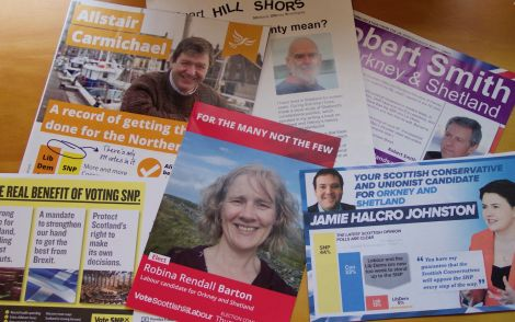 Some of the election pamphlets distributed to the 33,000 strong electorate of Orkney and Shetland . Photo: Shetland News
