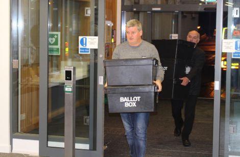 Shetland's ballot boxes arriving in Kirkwall.