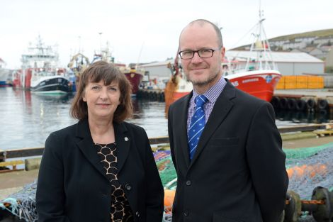 Lerwick Port Authority chief executive Sandra Laurenson with David Nicolson of the Bank of Scotland during the launch of the project in October 2014. Photo: Lerwick Port Authority