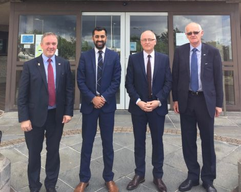 Orkney council leader James Stockan, SNP islands minister Humza Yousaf, Western Isles council leader Roddie Mackay and SIC leader Cecil Smith.