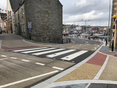 The new traffic measures start at Church Road and carry on to the Viking Bus Station. Photo: Shetland News.