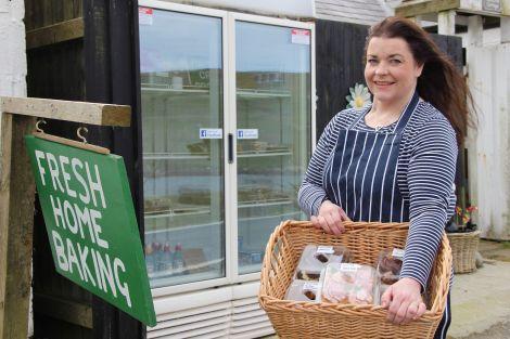 Lynn Johnson at her cake fridge earlier this year. Photo: Hans J Marter/Shetland News