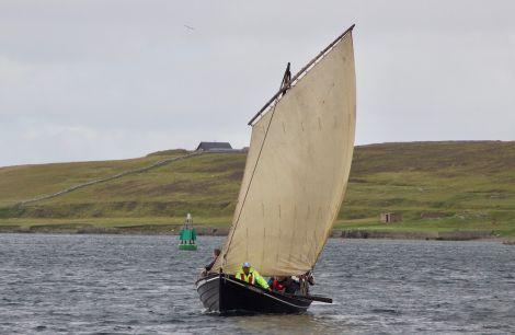 The replica sixteen Vaila Mae in full sail - Photos: Hans J Marter/Shetland News