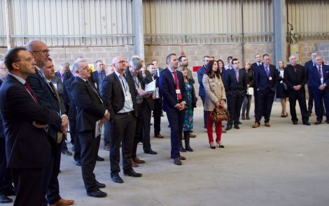 Guests listening to speeches at the opening at Dales Voe.