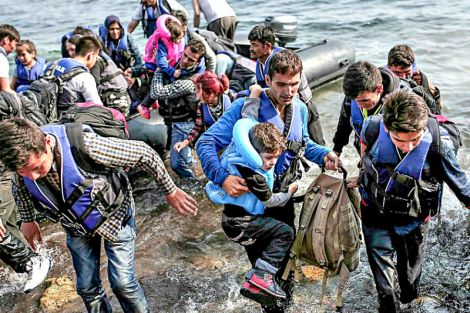 Syrian refugees fleeing to safety in the Mediterranean. Photo by Freedom House with Creative Commons approval.