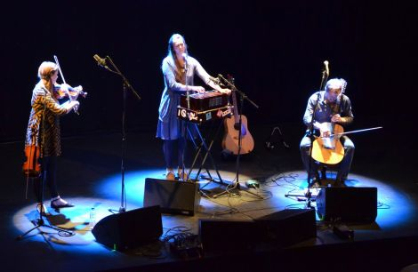 Salt House (from left: Lauren McColl, Jenny Sturgeon and Ewan McPherson) performing at Mareel on Thursday evening. Photo: Kelly Nicolson Riddell.