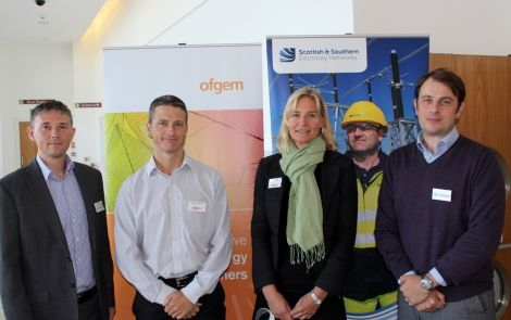 From eft to right - National Grid Shetland Link project director Daniel Angel, Ofgem head of electricity distribution Grant McEachran, Ofgem head of Scotland Kersti Berge, and SSE lead project manager Dan Pearson. Photo: Shetland News/Chris Cope.