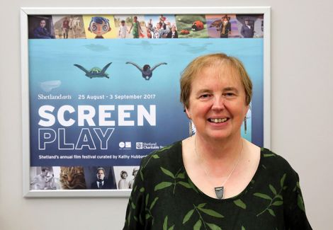 Co-curator Kathy Hubbard at the launch of the 2017 Screenplay film festival. Photo courtesy of Shetland Arts.
