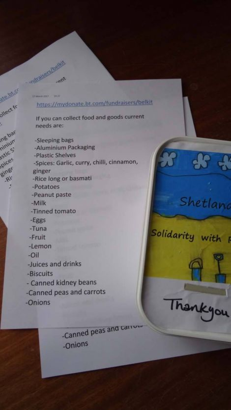 The items being sought by Shetland Solidarity with Refugees.