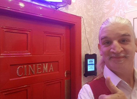 Chris Harris at the entrance to the cinema inside his Skerries home.