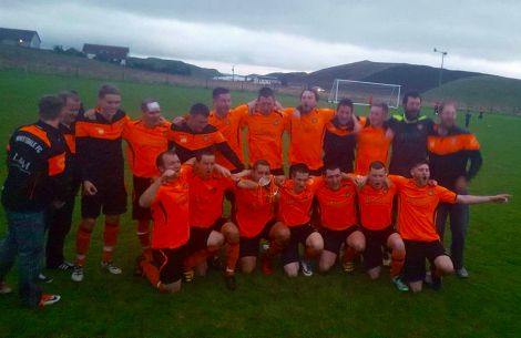 The Whitedale team celebrating after their victory. Photo: The BIG Tackle/BBC Radio Shetland