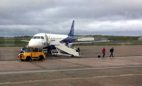 A Flybe/Eastern Embraer aircraft at Sumburgh Airport recently. Photo: Hans J Marter/Shetland News