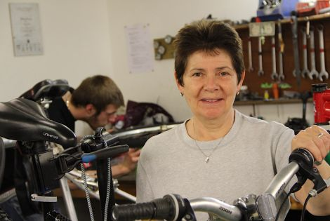 Shetland Community Bike Project manager Caroline Adamson: 'our main aim is to help folk with barriers to employment'. Photos Hans J Marter/Shetland News