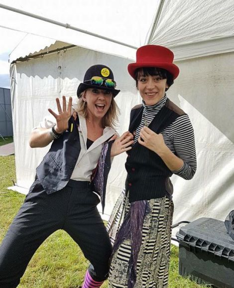 Local clowns Donna Simpson (left) and Layla Sawford are heading to Greece next month.