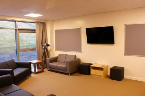 One of the TV rooms in the halls of residence.