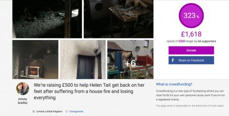 "A crowdfunder has raised over £1,600 to help Helen Tait, who lost ""everything"" following a house fire at the weekend."