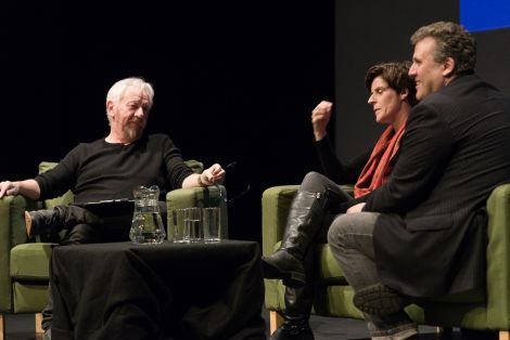 Authors and screenwriters Chris Dolan (left), Helen Fitzgerald and Sergio Casci sharing their thoughts and experiences of writing for stage and screen, on Thursday. Photo: Steven Johnson
