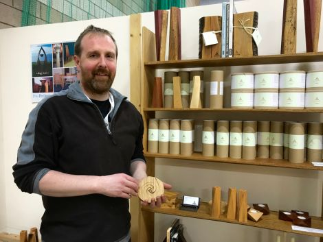 Cecil Tait of Paparwark Furniture has turned out a line of stylish trivets. Photo: Shetland News/Neil Riddell.
