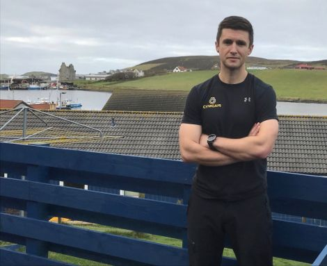 Personal trainer Russell Gair outside the East Voe premises of his GymGair business. Photo: Shetland News/Neil Riddell.