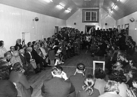 An image from the 1973 UHA - when it was still held in the old Cullivoe Hall, which now serves as the village's galley shed.