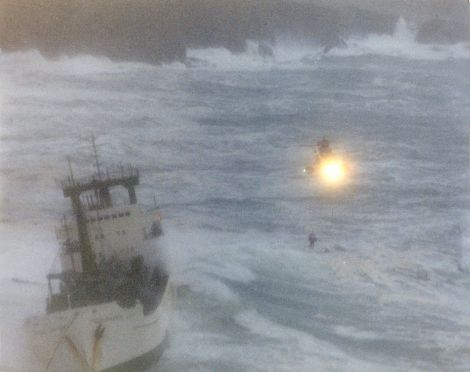Ten crew members were airlifted off the stricken vessel in appalling conditions. Photo: Courtesy of Kenny Groat